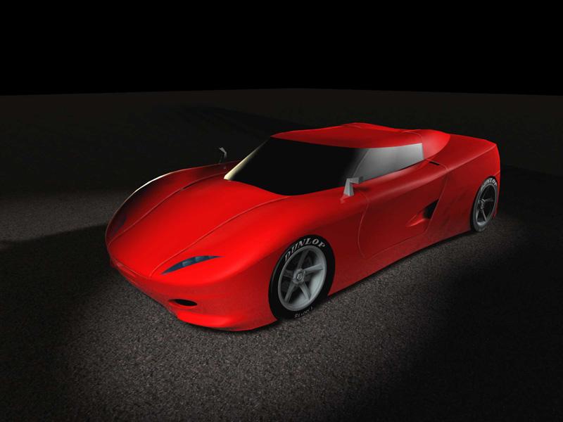 3/4 delantera de las primeras ideas para un Ferrari